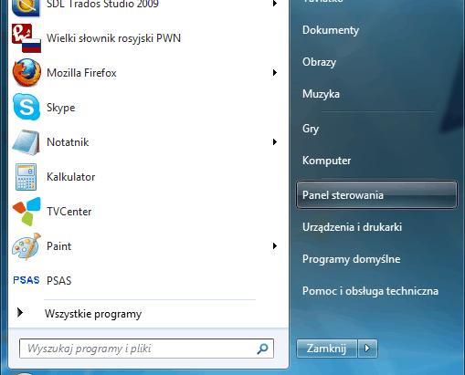 język rosyjski - panel sterowania