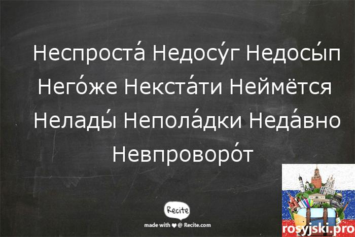 gramatyka języka rosyjskiego wyrazy z nie
